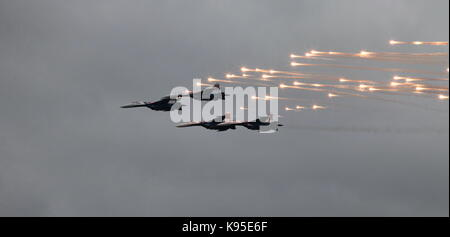 Aerobatic team 'Swifts' on the MiG-29 fighter fires a missile thermal - Stock Photo
