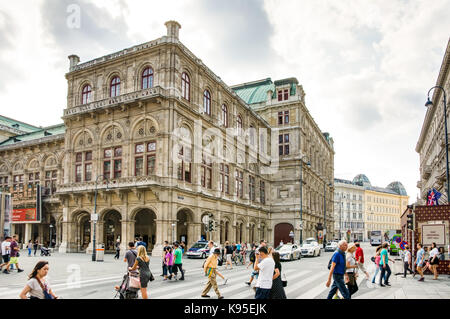 VIENNA, AUSTRIA - AUGUST 28: Tourists at the State Opera of  Vienna, Austria on August 28, 2017. - Stock Photo