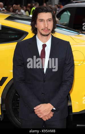 Logan Lucky UK film premiere at the Vue West End, Leicester Square, London  Featuring: Adam Driver Where: London, - Stock Photo