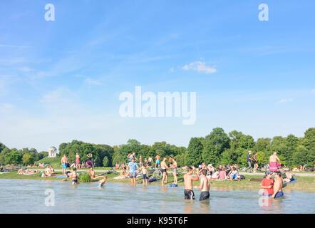 Englischer Garten (English Garden), view to Monopteros, stream Schwabinger Bach, bather, sunbather, people, München, - Stock Photo