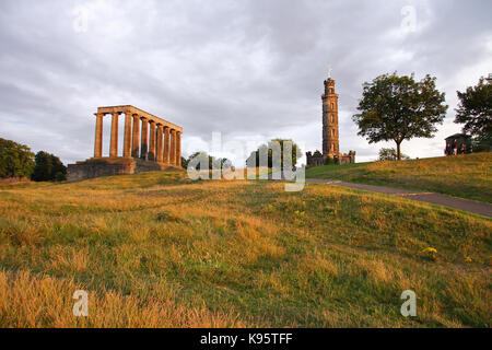 Calton Hill Monuments in Edinburgh, Scotland. UK. - Stock Photo