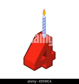 4 number and Candles for birthday. four figure for holiday cartoon style. Vector illustration - Stock Photo