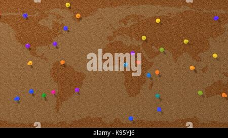 simple cork pinboard with pins, 3d illustration. - Stock Photo