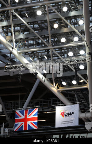 The Union Jack & IAAF flags flying at the World Championships, Queen Elizabeth Olympic Park, Stratford, London, - Stock Photo