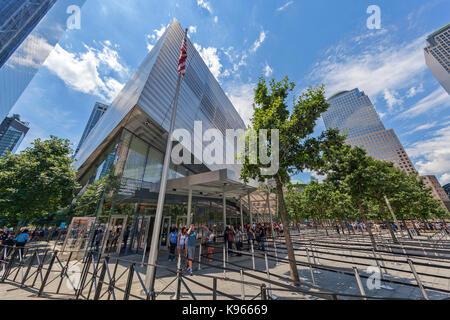 The National September 11 Memorial Museum near the Freedom Tower, Manhattan, New York. - Stock Photo