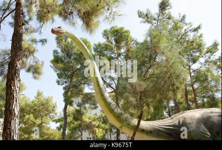 Kemer;Turkey-August 14; 2017: Brachiosaurus-Late Jurassic period /156-145 million years ago. In the Dinopark - Stock Photo
