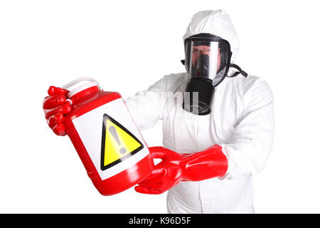 Man in hazardous materials suit isolated on white - Stock Photo