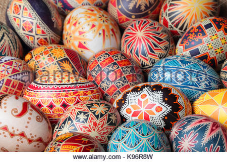 Pysanka is a Ukrainian Easter egg decorated with traditional Ukrainian folk designs. - Stock Photo