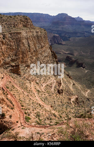 A view into The Grand Canyon along South Kaibab Trail. - Stock Photo