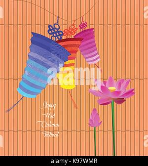 Mid Autumn Lantern Festival background with lotus. - Stock Photo