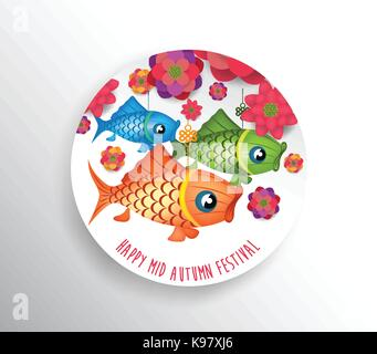 Mid autumn festival. Seasons Greetings carp lantern design - Stock Photo