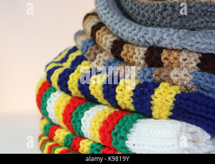 tricot, woven with two needles, winter wool - Stock Photo