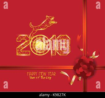 New Years 2018 polygonal line light background. Year of the dog - Stock Photo