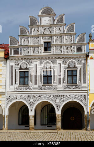 Architecture in the main square of the historical town of Telc in southern Moravia. - Stock Photo