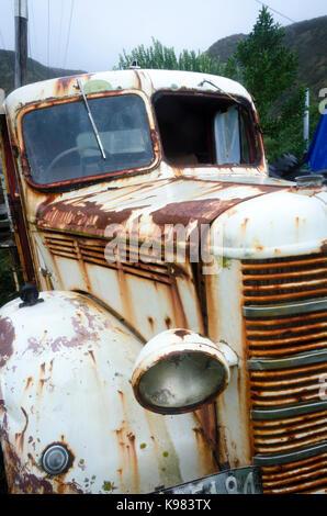 Old Bedford Truck, Ngawi, Cape Palliser, Wairarapa, North Island, New Zealand - Stock Photo