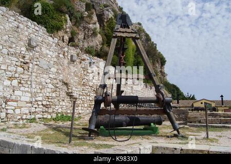 Cannon historical defensive weapons. Corfu Island, Greece - Stock Photo