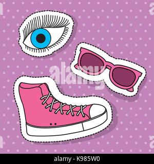 pink sport boot sunglasses and eye fantasy elements - Stock Photo