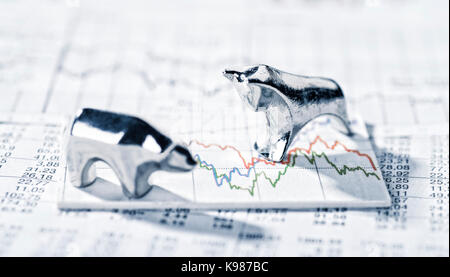 Bull and Bear are on a graphic with market prices. - Stock Photo