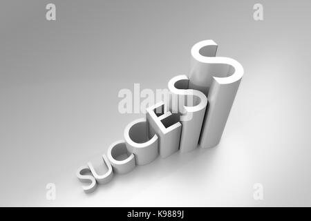 3d rendering of growth words 'SUCCESS' sign - Stock Photo