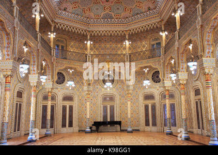 PORTO, PORTUGAL - JULY 07, 2017: The Stock Exchange Palace (Palacio da Bolsa) in the Arab Room. The palace was built - Stock Photo