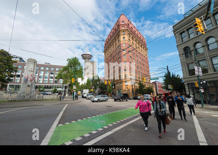 Vancouver, British Columbia, Canada - 13 September 2017: Dominion building and Lookout tower in Gastown district. - Stock Photo