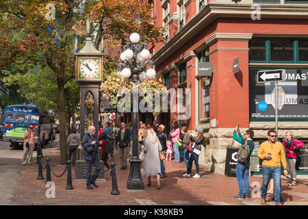 Vancouver, British Columbia, Canada - 13 September 2017: Steam Clock in Gastown District - Stock Photo