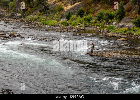 Fly fishing the Spokane River at the Bowl and Pitcher area of Riverside State Park. - Stock Photo