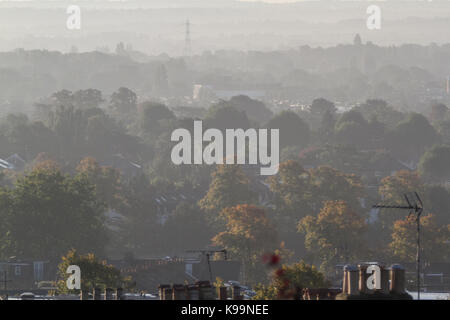 London, UK. 22nd Sep, 2017. Wimbledon landscape bathed in hazy morning sunshine on the first day of autumn Credit: - Stock Photo