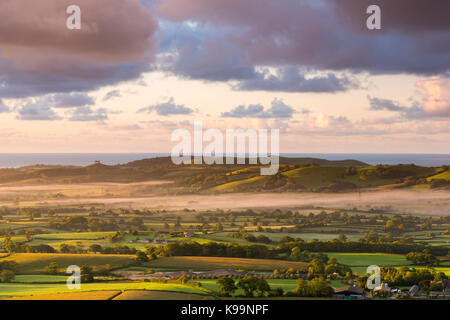 Marshwood, Dorset, UK. 22nd Sep, 2017. UK Weather. View from the iron age hill fort of Pilsdon Pen near Marshwood - Stock Photo