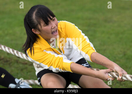 Southport, Merseyside, UK. 22nd Sep, 2017. Chinese team at the European Outdoor Tug of War Championships and 2017 - Stock Photo