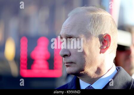 Ulyanovsk, Russia. 22nd Sep, 2017. Russia's President Vladimir Putin attends an exhibition on public transportation - Stock Photo