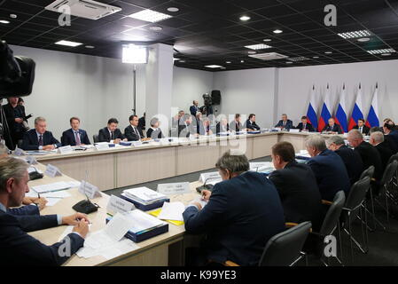 Ulyanovsk, Russia. 22nd Sep, 2017. A meeting of the Russian State Council Presidium on developing regional passenger - Stock Photo