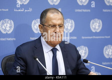 New York City, USA. 22nd Sep, 2017. Russia's Foreign Minister Sergei Lavrov gives a press conference during the 72nd session of UN General Assembly at the United Nations Headquarters. Credit: Alexander Shcherbak/TASS/Alamy Live News