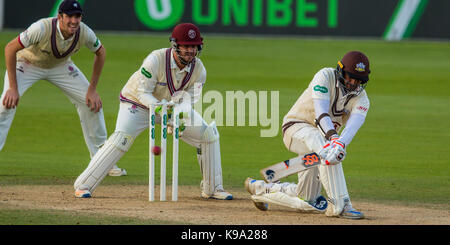 London,UK. 22 September 2017. batting for Surrey against Somerset at the Oval on day four of the Specsavers County - Stock Photo