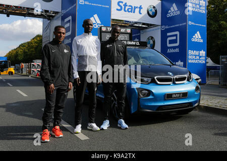 Berlin, Germany. 22nd September 2017. Kenenisa Bekele from Ethiopia, Eliud Kipchoge from Kenya and Wilson Kipsang - Stock Photo