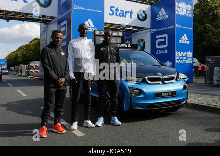 Kenenisa Bekele from Ethiopia, Eliud Kipchoge from Kenya and Wilson Kipsang from Kenya pose for the cameras at the - Stock Photo