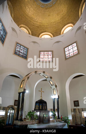 Church of the Beatitudes on the northern coast of the Sea of Galilee in Israel. The traditional spot where Jesus - Stock Photo