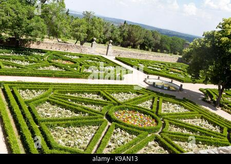 Garden of Royal Monastery of San Lorenzo de El Escorial, El Escorial, Spain - Stock Photo
