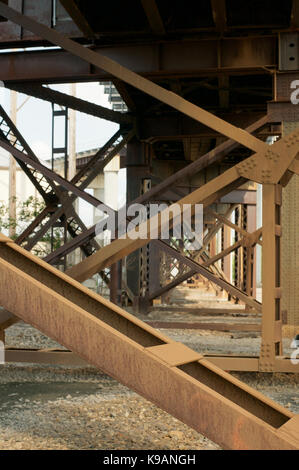 Detail of a metal girder bridge in Kansas City, USA - Stock Photo