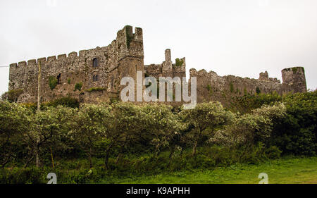Manorbier Castle, Pembrokeshire, Wales. UK - Stock Photo