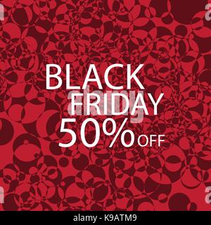 Black Friday Black dots on red background. Vector - Stock Photo