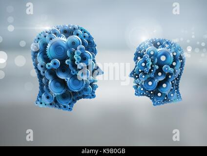 Digital composite of Cog heads with bright background - Stock Photo