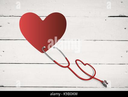 Digital composite of Heart with stethoscope - Stock Photo