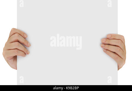 Hands holding blank white paper isolated over white - Stock Photo