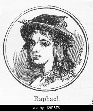A 1910 sketch portrait of Raphael (Raffaello Sanzio da Urbino) Italian painter and architect as a boy - Stock Photo