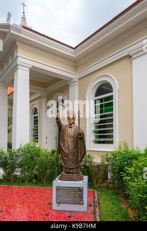 Bronze Statue of John Paul II, Singapore - Stock Photo