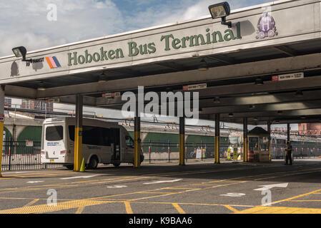 Hoboken, NJ USA -- September 19, 2017 Photo of the Hoboken Bus Terminal operated by the Port Authority of New York - Stock Photo