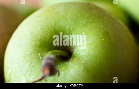 A green apple in the drops of water. Macro shooting. Selective focus. - Stock Photo