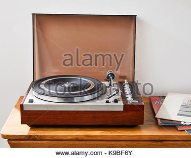Old vintage record player - Stock Photo