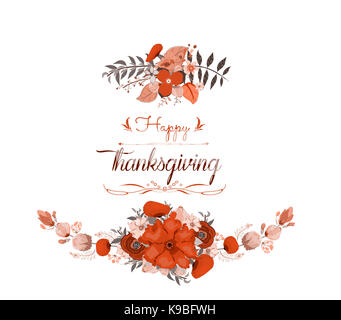 Happy Thanksgiving Day greeting card. bird and hand drawn letters - Stock Photo